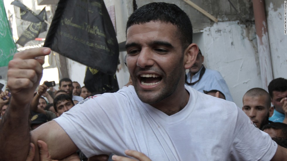 Sarsak's eventual release in July 2012 sparked scenes of wild celebration. This picture shows his return to his hometown of Rafah.