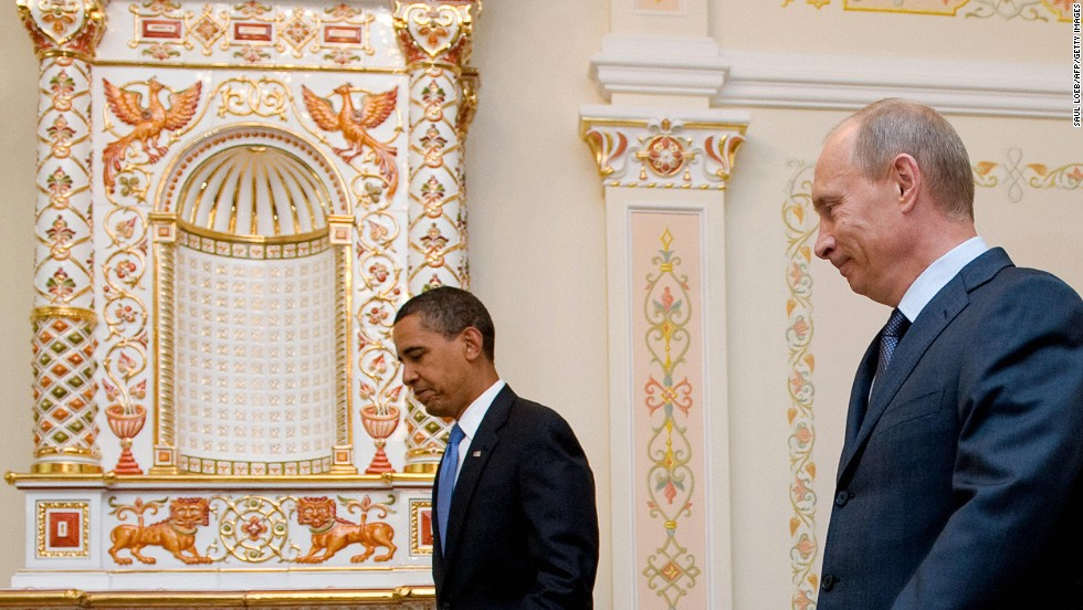 U.S. President Barack Obama meets Putin at his home in Novo Ogaryovo, near Moscow, in July 2009. Putin said Russia was pinning its hopes on Obama to revive ties with the United States.
