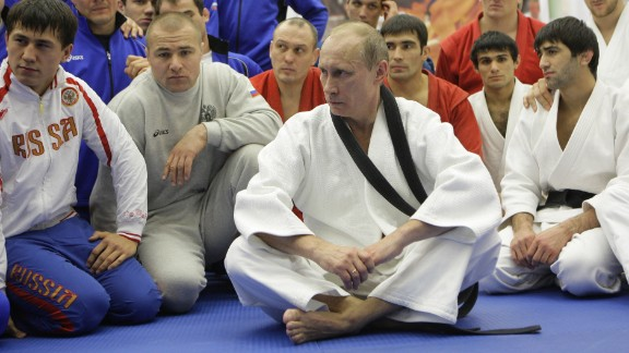 Putin takes part in a judo training session at a sports complex in St. Petersburg in December 2010. Putin holds a black belt in judo.