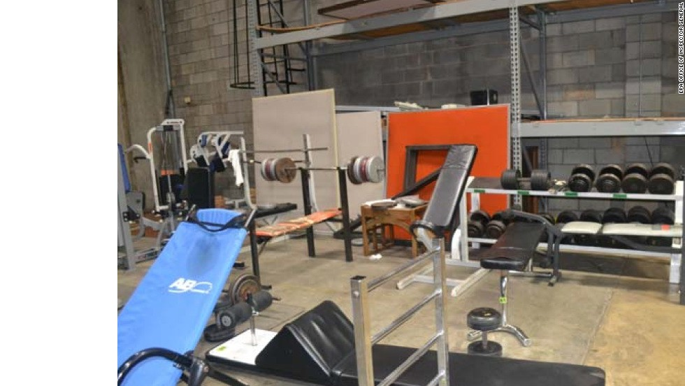 The warehouse also contained an extensive gym with weights and updated equipment.