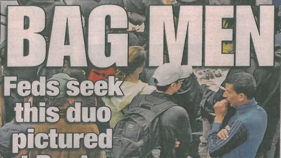 """The New York Post cover identifying """"Bag Men"""" in Boston Bombings."""