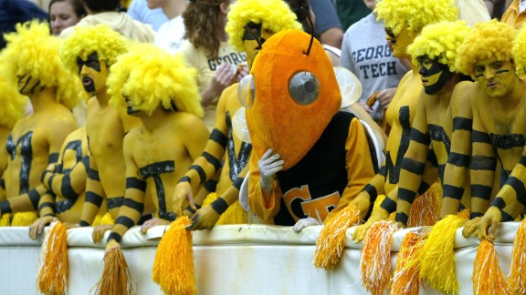 2004 was an exciting year for the Georgia Tech Yellow Jackets men's basketball team. They reached the NCAA Championships that year, only to fall to University of Connecticut's Huskies. Georgia Tech's mascot, Buzz, is always a hit with fans. This photo shows Buzz looking on helplessly at the football team's loss to the Virginia Cavaliers in 2004.