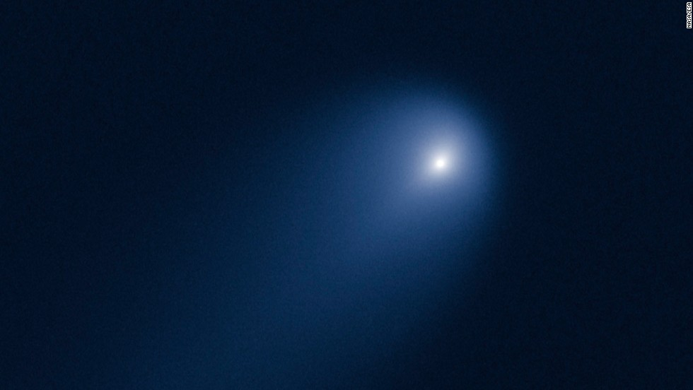 The Hubble Space Telescope took this picture of Comet ISON on April 10, 2013, when the comet was slightly closer than Jupiter's orbit, or about 386 million miles from our sun.