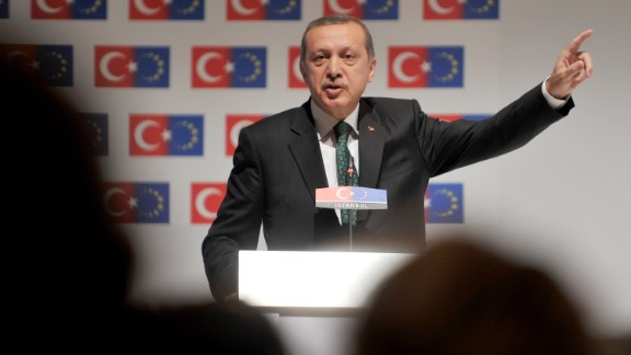 "Prime Minister Recep Tayyip Erdogan speaks during the opening session of the Ministry for European Union Affairs Conference on June 7 in Istanbul. Erdogan said today his Islamic-rooted government was open to ""democratic demands"" and hit back at EU criticism of his government"
