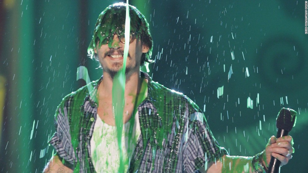 Despite his arresting good looks, Depp has never been too vain. Here he gets slimed onstage at the Kids Choice Awards in 2005.