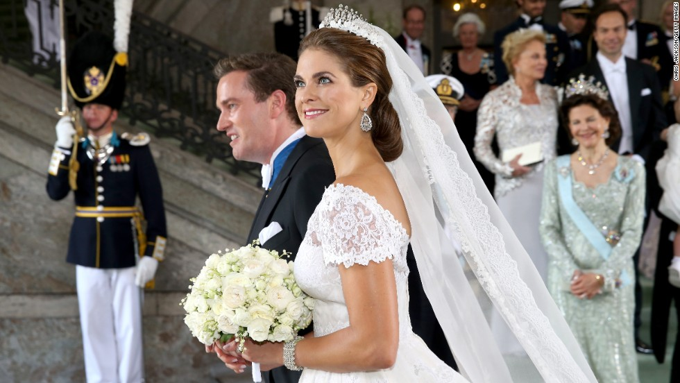 Princess Madeleine of Sweden and Christopher O'Neill leave the ceremony.