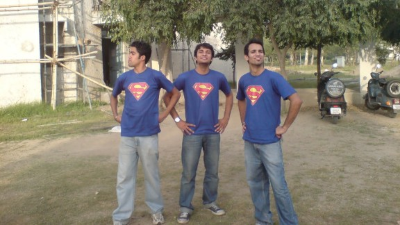 "Nishan Marc Pereira and his friends Pushpinder Singh and Akash Verma are huge superhero fans, so much so that they decided to buy matching Superman T-shirts and take random photographs posing as superheroes on their college campus in Punjab, India, in 2010. ""As a child, my brothers and I used to fight over who could be Superman because a simple blanket around our neck and the underwear inside out was the easiest to copy. We used to run around the house like this, playing bad guys and good guys,"" Pereira said."