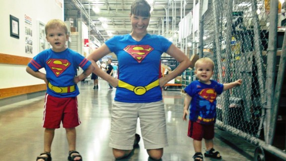 "Steve Crawford photographed his wife, Lisa, and his two sons dressed up as a superman family. He says his son, Brendan, has been on a Superman kick and insisted that his mom and younger brother join him in dressing up as the ""Man of Steel."" Often, he said, Superman is the first superhero kids are exposed to. ""Kids like to pretend, and that"