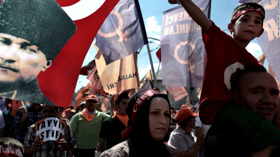 Protesters gather during a demonstration at Taksim Square in Istanbul, on June 9.