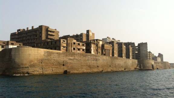 """Made famous in the latest James Bond movie, """"Skyfall,"""" Hashima Island is home to a ghostly uninhabited collection of apartment blocks -- all are ruined and crumbling."""