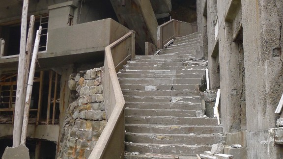 The same staircase captured more than half a century later.