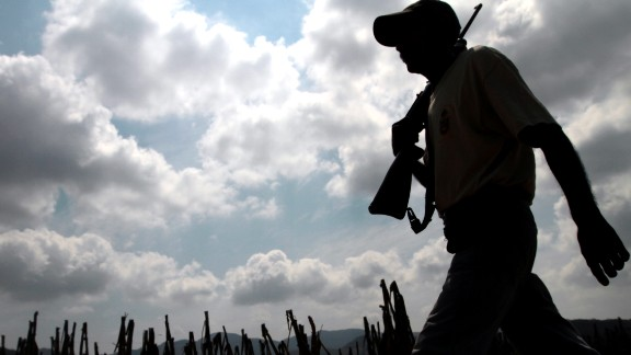 An armed resident in Xaltianguis, Acapulco municipality, on April 2, 2013, in the southwestern State of Guerrero, Mexico.