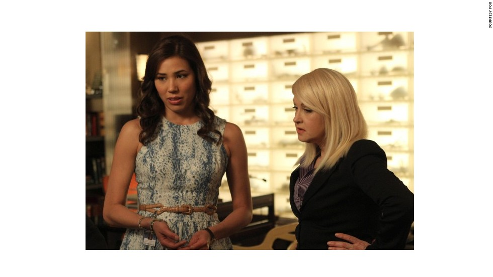 "Lauper played a psychic named Avalon on the Fox show ""Bones"" in 2012. Here she appears with Michaela Conlin who plays Angela Montenegro on the series."