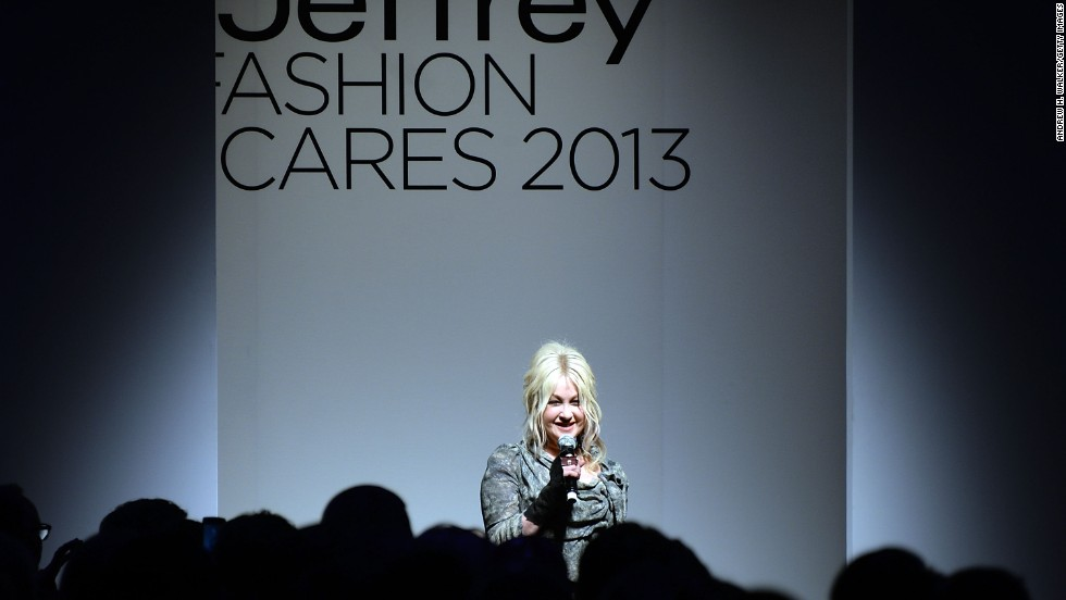 She loves fashion and fashion loves Lauper. Here she speaks at the Jeffrey Fashion Cares 10th Anniversary Celebration at The Intrepid on April 2, 2013, in New York.