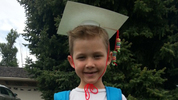 "For Mason Smith's graduation from Rosemary's Preschool in Logan, Utah, his teacher made cardboard caps with Fruit Loop tassels. ""I think it's important to celebrate all graduations from pre-K to doctorates,"" said mom Megan Smith. ""By letting a child know early on how proud you are of them for their accomplishments, it helps them understand how important it is to continue with that behavior. Think about it, we scream and applaud at the first potty; we should do the same with every milestone!"""