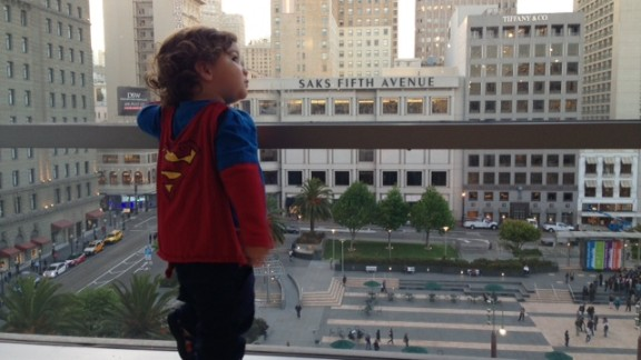 "Keren Espinoza loves dressing her 19-month-old son, Jadon, as Superman. ""I love to see him run and swing at the park. He looks like his cape really makes him fly,"" she said. She says Jadon"