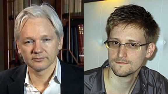 France's justice minister discussed possible asylum for WikiLeaks' Julian Assange (left) and former contractor Edward Snowden.
