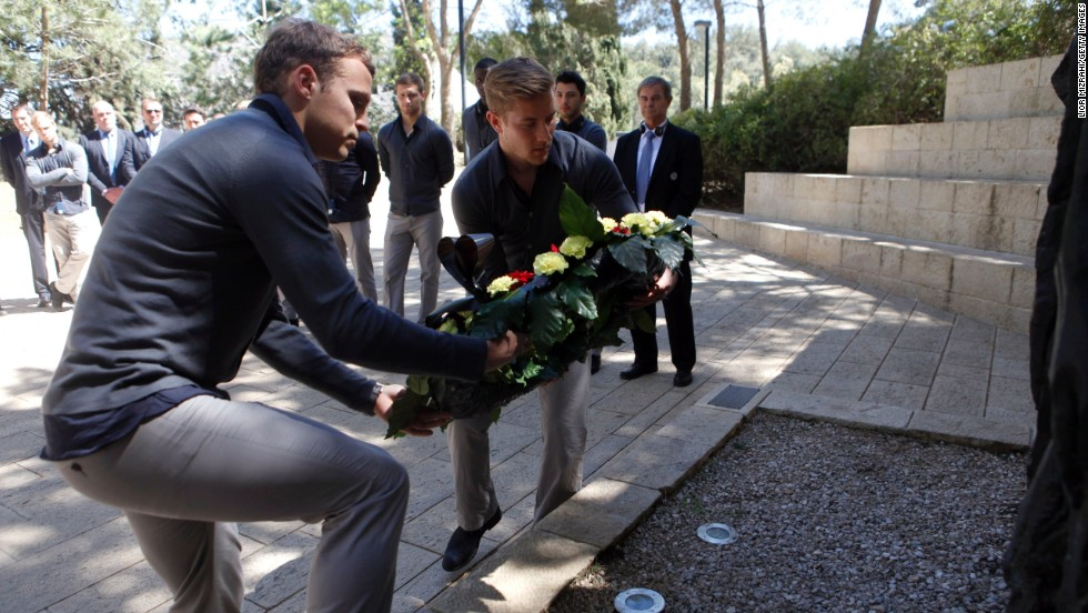 Holtby and teammate Toni Jantschke lay a wreath during the visit to the Yad Vashem Holocaust memorial museum before March's friendly game against Israel.