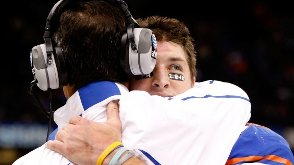 Tebow hugs Florida head coach Urban Meyer during the Sugar Bowl in January 2010. In what was Tebow