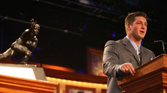 Tebow speaks after he was presented with the Heisman Trophy in December 2007. He was the first sophomore to win the Heisman.