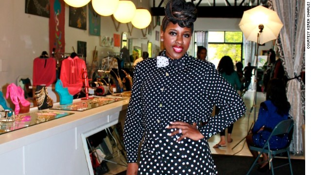 Neshanta Davis's two-piece polka-dot short set and matching bow tie cost less than $20.