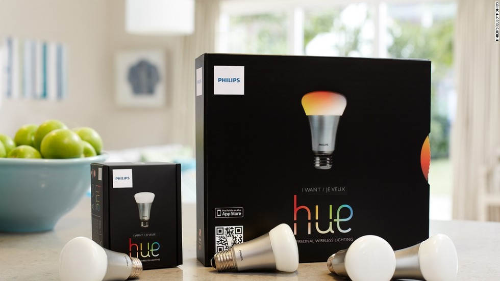 Hue offers a variety of colorful options. Among them: users can turn their wireless lights on and off remotely when away from home, or set their lights to come on at a set time and avoid coming home to a dark house.