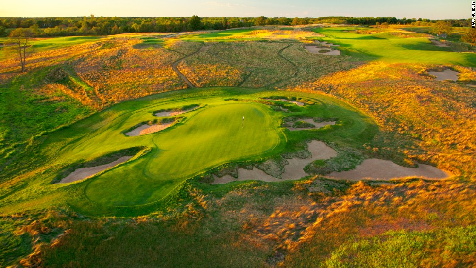 Erin Hills hosted the U.S. Amateur in 2011 and will host the U.S. Open in 2017. The 7,823-yard, par 72 course is a walking-only course, with neither motorized nor pull carts allowed. Green fees: $200.