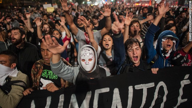 Students protest against the rise in public bus and subway fares in Sao Paulo on Tuesday.