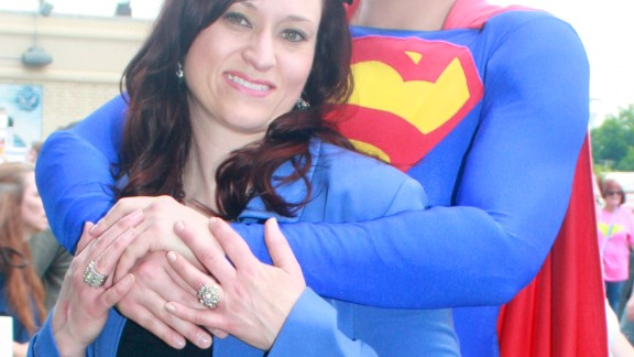 "Jamie Kelley, here with his wife, Ronda, got married on October 9, 2009 - 13 years to the day after Clark Kent married Lois Lane in the comics. The couple often visits Metropolis, Illinois, for its annual ""Superman Celebration."" As for why Superman has been such a big part of Kelley"
