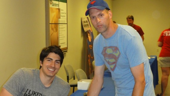 "Kenny Rich travels from the small town of Clarkton, Missouri, to the Metropolis event each year, and has met many of the ""Superman"" celebrities there over the years, such as ""Superman Returns"" star Brandon Routh. His tight-knit community of Superman fans pitched in to donate parts of their collections to a fellow fan after his Superman collection was stolen."