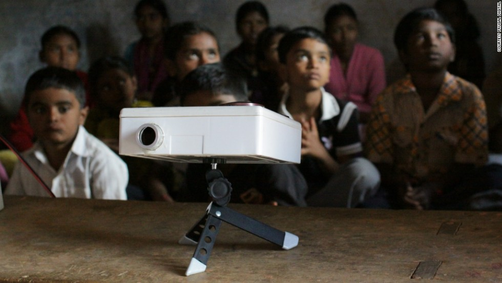 In consultation with local communities, Frugal Digital developed Darshana, a low-cost lunch box projector for use in schools. The projector is fitted with a small USB 2.0 port and uses a phone touch screen as a trackpad.