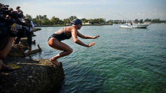 Australian swimmer Chloe McCardel dives from Marina Hemingway in Havana, Cuba on Tuesday.