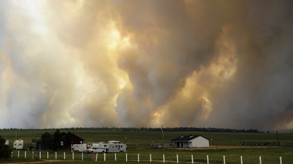 Smoke rises from the Black Forest Fire near Colorado Springs on June 12.