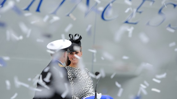 Catherine, the Duchess of Cambridge, and husband Prince William welcomed their first child on Monday, July 22. Last month she made her last solo appearance before the birth, to christen a cruise ship. Here, ticker tape falls as Catherine officially names Princess Cruises' new ship Royal Princess in Southampton, England, on Thursday, June 13.