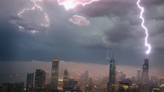 Lightning strikes the Willis Tower -- formerly known as the Sears Tower when it was built in the 1970's -- in downtown Chicago. A recession hit the U.S. shortly after.