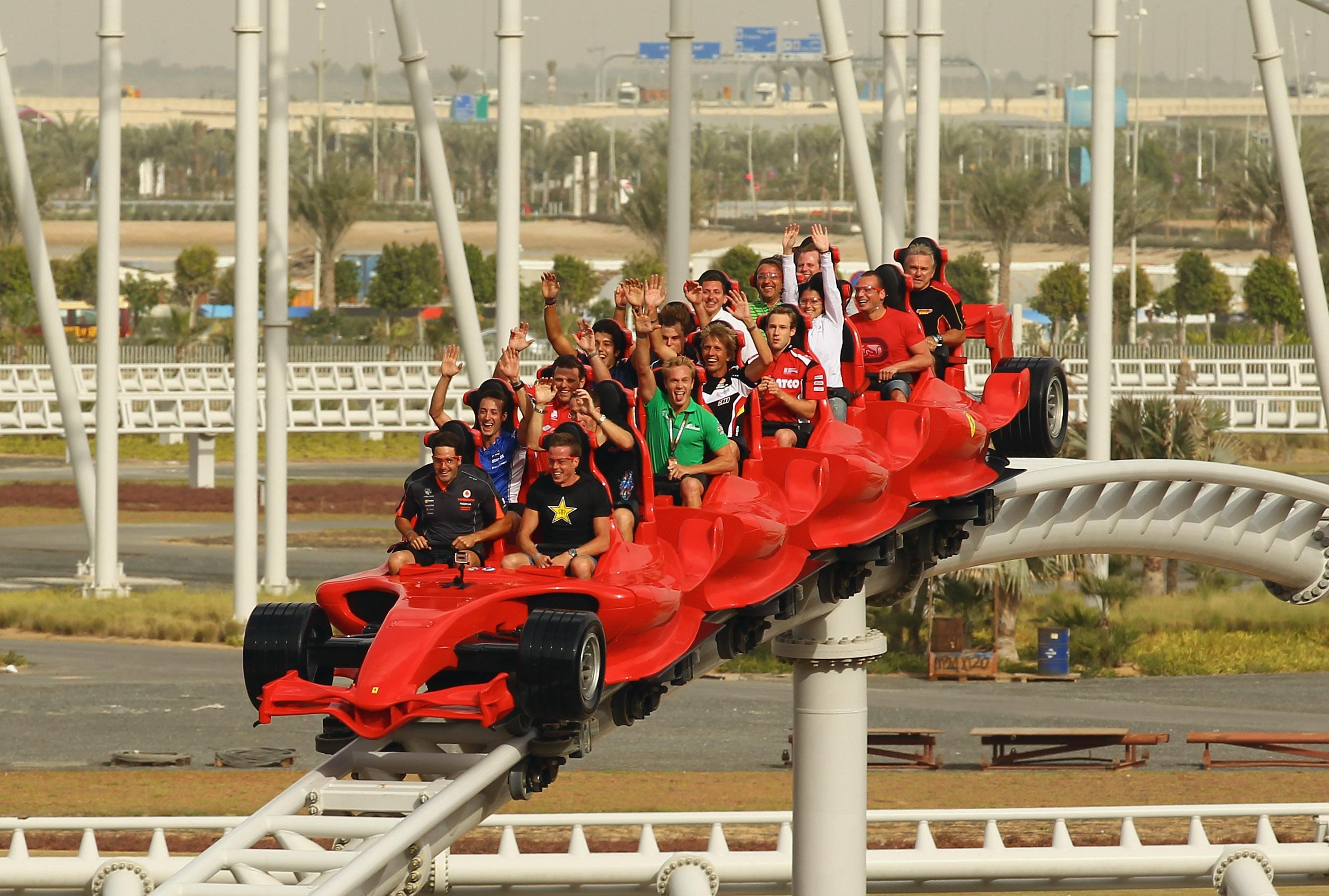 dubai new turbo dhabi world tracks theme opening night img park track ferrari abu rollercoaster