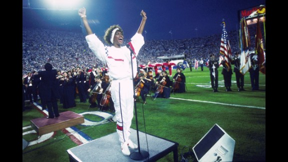"""But Whitney Houston hit the right notes at Super Bowl XXV in January 1991, stirring Americans' patriotic feelings during the Persian Gulf War. Her version of """"The Star-Spangled Banner"""" reached the Billboard chart's Top 20 that year."""