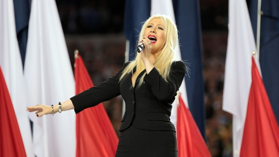 """No stranger to performing the national anthem, Christina Aguilera nevertheless forgot some of the words when she did the song at Super Bowl XLV in February 2011. """"I got so lost in the moment of the song that I lost my place,""""<a href=""""http://marquee.blogs.cnn.com/2011/02/07/christina-aguilera-does-know-the-words-to-the-national-anthem/""""> Aguilera told CNN</a>."""