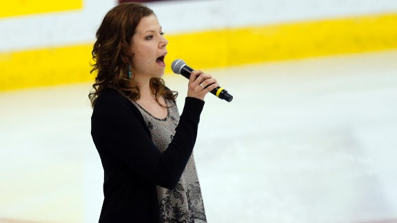 "Canadian singer Alexis Normand made headlines when she forgot the words to ""The Star-Spangled Banner"" at a hockey game in May 2013. Normand, pictured performing at a later game, tweeted she was sorry."