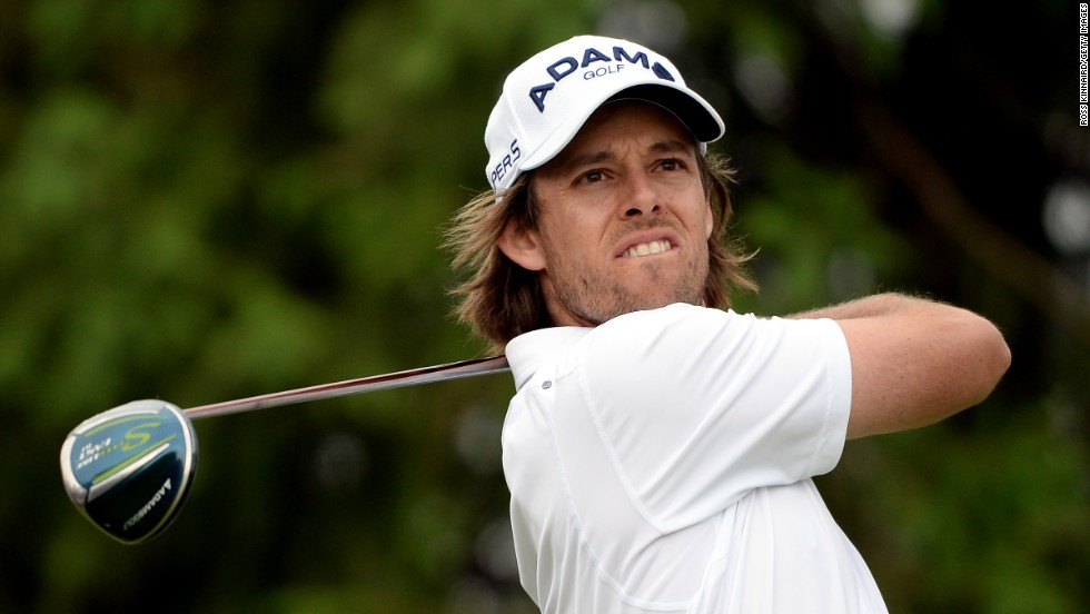 On the fourth hole, Aaron Baddeley of Australia tees off on June 13.