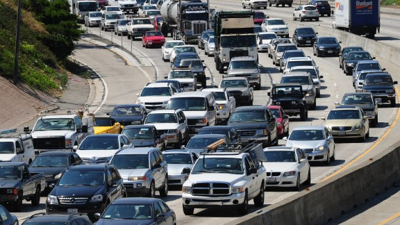 Commuters move slowly  in Los Angeles. Studies show that talking to your car