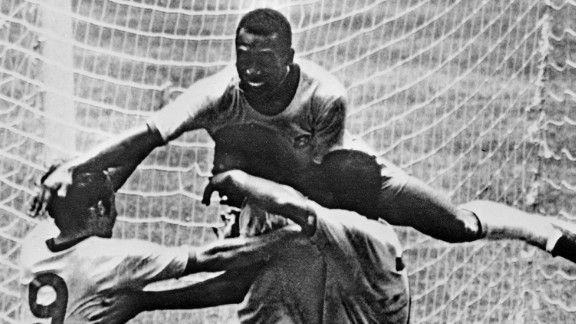 The Brazil team of 1970, which beat Italy 4-1 in the World Cup final in Mexico, is widely regarded as the greatest of all time. Pele is seen here leaping on his teammates.