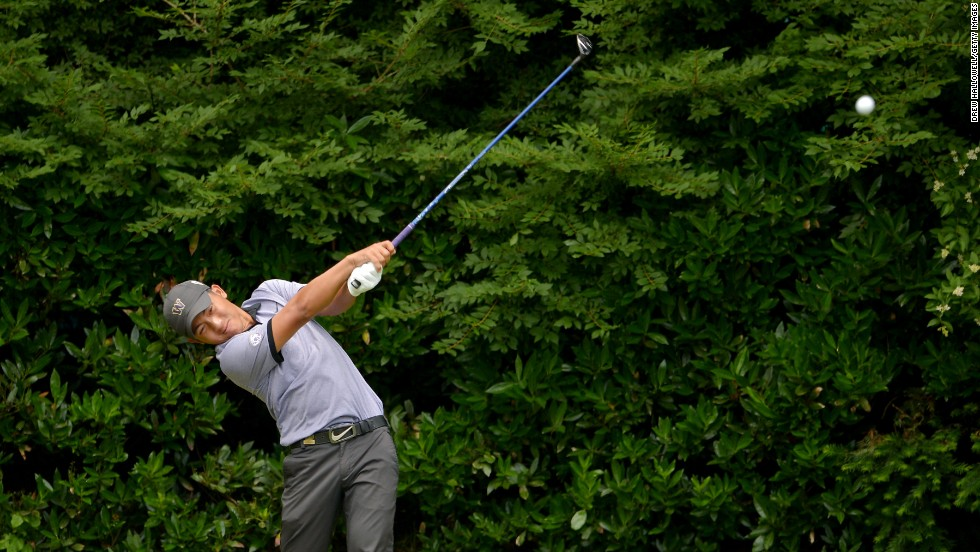 Cheng-Tsung Pan of Taiwan tees off on the 11th hole during on June 13.