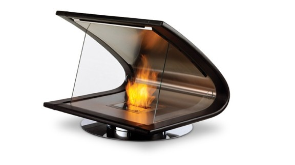 This chic Zeta fireplace looks like something you would bring to work. Encased in leather and molded from a titanium interior, the fireplace is portable, so you can enjoy its looks and warmth in every room.