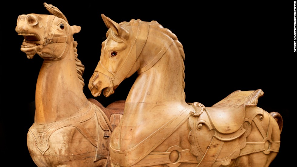 The rare artworks, including this wooden carving by German sculptors D. Muller and G. Denzel, come from a mixture of Chantilly's Condee Museum and private collections.