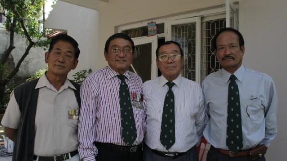 Friends and comrades: Former Gurkha soldiers Tamang, Limbu, Limbu and Kumar pictured together in Kathmandu recently.