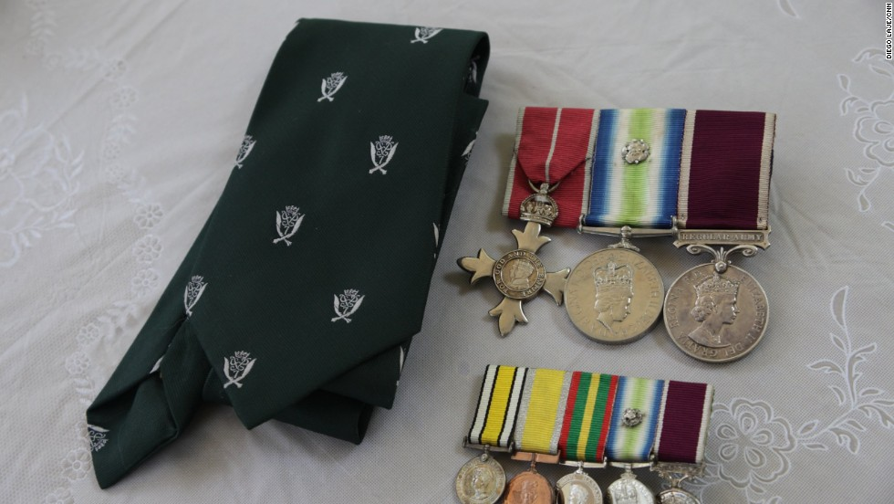 Throughout their long military careers, the men earned a number of decorations. Their regimental tie carries the famous crest featuring crossed Gurkha Kukri knives.
