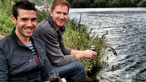 Brandon Perlberg, left, moved to London to be with Benn Storey.