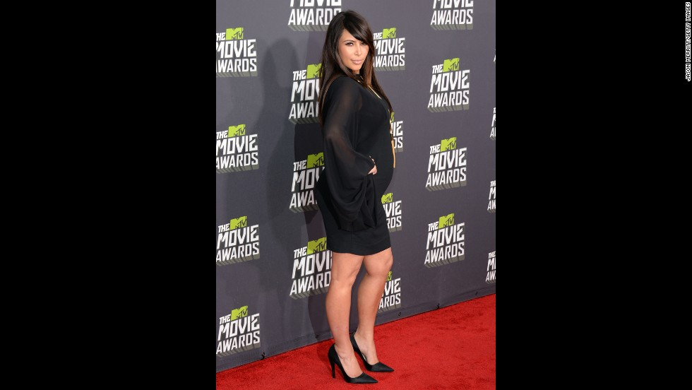 Kim Kardashian arrives at the 2013 MTV Movie Awards in April.