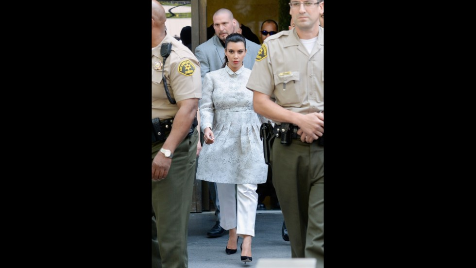 "Kim Kardashian wears her ""kourtroom"" look for her divorce hearing in April."